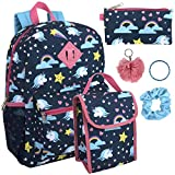 Girl's 6 in 1 Backpack Set With Lunch Bag, Pencil Case, Bottle, Keychain, Clip (Unicorn magic)