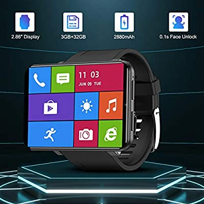 """TICWRIS Andriod Smart Watch, GPS Android Smartwatch, 4G LTE with 2.86"""" Touch Screen, Face Unclok Phone Watch with 2880mAh Battery, IP67 Waterproof Sport Watch,3GB+32GB Andriod Watch for Men (Black)"""