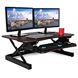 ApexDesk ZT Series Height Adjustable Sit to Stand Electric Desk Converter, 2-Tier Design with Large 36x24' Upper Work Surface and Lower Keyboard Tray Deck (Electric Riser, Walnut)