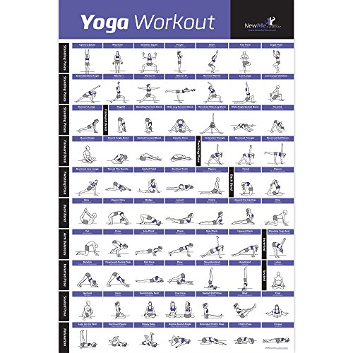 Yoga Pose Exercise Poster Laminated - Premium Instructional Beginner's Chart for Sequences & Flow - 70 Essential Poses - Sanskrit & English Names - Easy, View It & Do It! - Vol 1 18'x27'