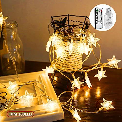 Led Lichterkette, 10m 100 LED USB Stimmungslichter, mit 8 Lichtmodi, Drinnen&Außen IP44 Wasserdicht Deko Glühbirne für Party Garten Weihnachten Halloween Hochzeit Beleuchtung Deko