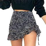 Minifalda Corta, Falda Corta Casual De Los Pliegues Irregulares del Cordón del Ajuste Delgado Atractivo del Leopardo,Negro,S