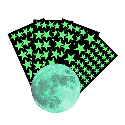 MERIGLARE Kit de Pegatinas de Papel Tapiz Fluorescente de Decoración de Dormitorio de 5 Piezas