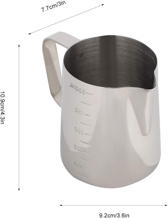 Fdit1 Lanciatore Latte in Acciaio Inossidabile Lanciatore Latte in Tazza bricco caff/è Brocca Latte Latte caff/è Espresso Espresso Latte Pitcher 9.2 * 7.7 * 10.9cm