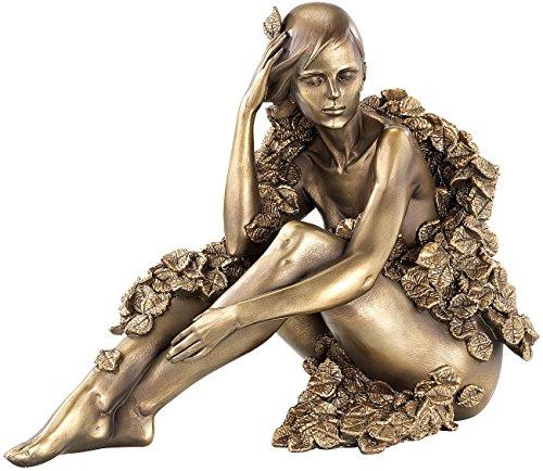 Carlo Milano Skulptur: Sitzende Frauen-Statuette, Kunstharz-Guss in Bronzeoptik (Frauenskulpturen)