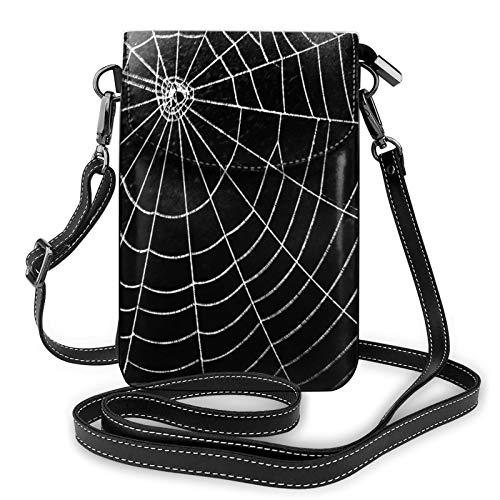 Risating Handy Umhängetasche - Spinnennetz Crossbody Handy Geldbörse mit verstellbarem Gurt PU Leder für Frauen Mädchen