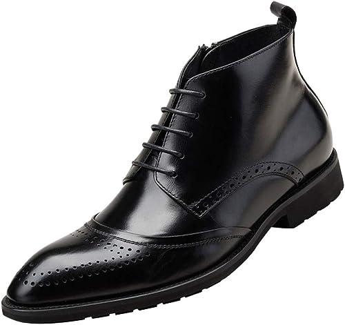 Hhoro zapatos de Boda para Hombre Moda Derby de Encaje Tallado Martin botas (Color   negro, tamaño   38EU)