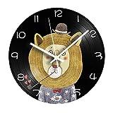 FDGFDG Cartoon Lion LP Vinyl Record Clock Shabby Chic Reloj de Pared Digital Decorativo para habitación de niños con Mecanismo de Silencio Decoración del hogar