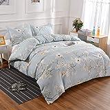YMY Lightweight Microfiber Bedding Duvet Cover Set,Chic Floral Pattern (Light Blue, Queen)