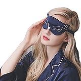 Natural Silk Sleep Eye Mask Light Blocking Comfortable Fox Night Mask with Adjustable Strap - Great for Travel, Shift Work, Nap, Blindfold for Sleeping Girls Women & Kids 1 Pack (Dark Blue)