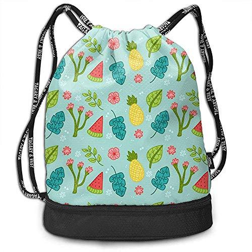 Bulk Drawstring Rucksack, Turnhalle Sporttasche String Tote für Erwachsene Kinder, Obst und Pflanzen Wallpaper