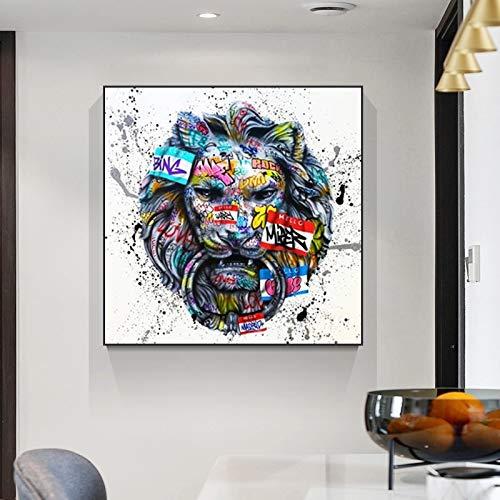 JHGJHK León rugiente Abstracto Arte de la Pintada Pintura al óleo decoración de la habitación de la Familia Pintura artística 2
