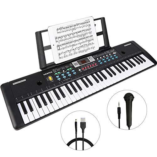 WOSTOO WSTOO keyboard, multifunctioneel digitaal piano 61 toetsen toetsenbord set met microfoon muziekstandaard voeding voor kinderen, ideaal voor kinderen en beginners, uitgebreide leerfunctie