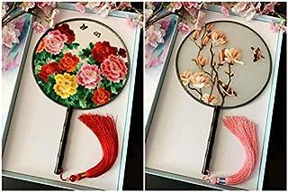 Ventilador de palacio de madera de ébano bordado a mano de seda de doble cara de estilo chino-othercolornotes