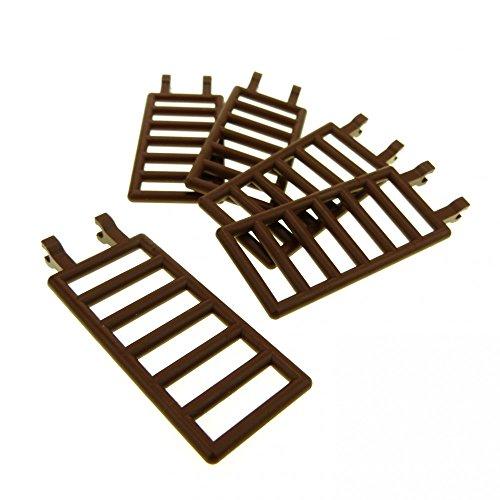 Preisvergleich Produktbild 5 x Lego System Zaun braun 7x3 mit 2 Clip Leiter Gatter Zäune Scharnier Wild West Castle Piraten 6056 6763 6020