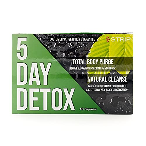 Strip 5 Day Detox Cleanse - Natural Complete Body Cleanse | Remove Unwanted Toxins - 40 Capsules Detox with Burdock, Dandelion, Red Clover Blossom, Alfalfa, Slippery Elm