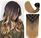 Clip In Human Hair Extensions Double Weft Brazilian...