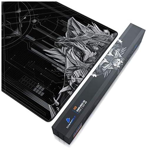 CSL – Alfombrilla de ratón de gaming Titanwolf 1200 x 600 mm – XXXL alfombrilla de ratón grande con diseño – Base de… 4