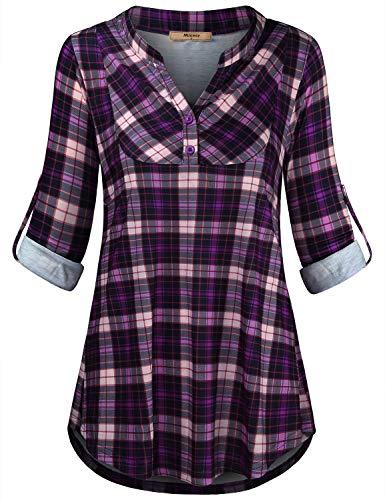 Miusey Womens Mandarin Collar Plaid Roll Sleeve V Neck Flowy Loose Tunic Blouse (Medium, 63# Purple)