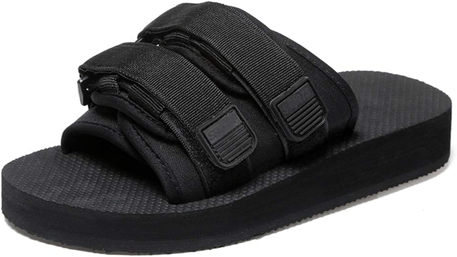 Battle Men Summer Casual Pool Slides for Men Women Unisex Fabric Lightweight Soft Flat Slippers Anti-Slip Slip-on Quick-Drying Round Open Toe Casual (color   Black, Size   10 D(M) US)