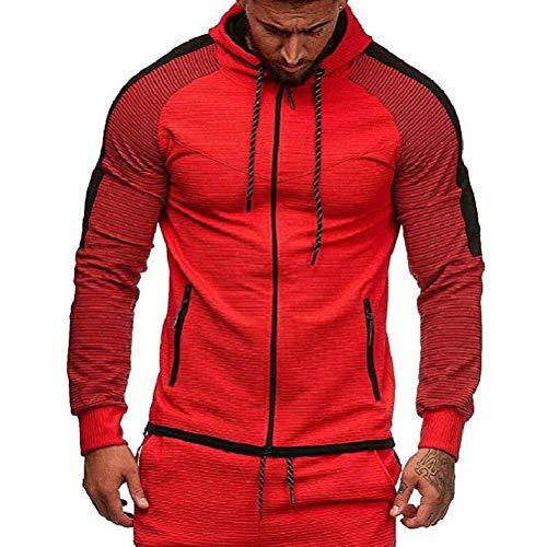 Sport Kapuzenshirt Herren Mischfarben Gestreift Wesentlich Bequem Outwear Oberteile Mit Reißverschluss Einfach Trend Herbst Winter Kapuzensweater (Color : Rot, Einheitsgröße : 4XL)