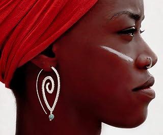 Silver Earrings - Silver Spiral Earrings - Gypsy Earrings - Tribal Earrings - Ethnic Earrings - Indian Earrings - Statement Earrings (ES47)