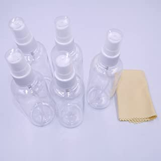Spray Bottle, 5 Pcs Empty 100ml (3.5 oz. ) Clear Plastic Fine Mist Sprayer for Cleaning, Travel + Cleaning Cloth