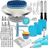 SHEANAON 109pcs di Utensili da Decorazione per Torte della Pasticceria Professionale, Supporto Girevole per Torta, Punte in Acciaio Inossidabile, Spatola, Unghie di Fiori, Fresa per Dolci