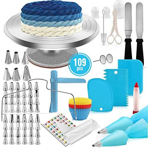LEAMALLS 109 Stück Düsen Gebäck Spritzbeutel Sahnehäubchen Dekoration Torten, Keksen, Kuchen, und Plätzchen Backzubehör Profi Spritzbeutel Set