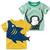 Oyoden Camisetas Manga Corta Niños Algodón Blusa Tops Bebé Verano 1-8 Años (3-4 Años(110cm), Blanco)