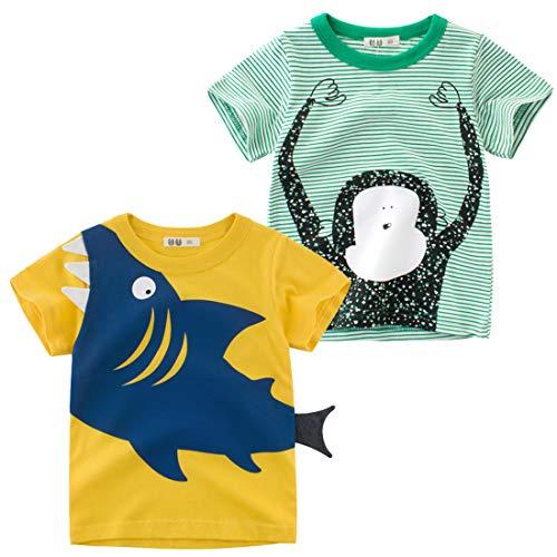 Oyoden Camisetas Manga Corta Niños Algodón Blusa Tops Bebé Verano 1-7 Años Pack de 2(3-4 años, Grupo D)
