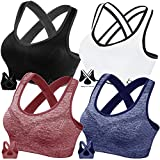 FITTIN Cross Back Sports Bras for Women - Padded Seamless 4 Pack Sports Bra for Yoga Gym Workout Fitness