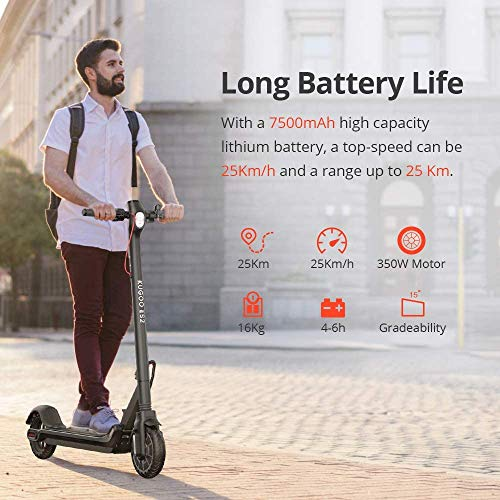Electric Scooter, Folding 350W Motor with APP Control and Built-in USB Port, 7.5Ah Long Range Battery LCD Display Screen Up to 25KM/H, 8.5 Inch Tire,Black