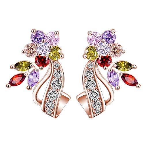 Glittering Rose Golden color AAA Cubic Zrn Multicolour Florets Stone Stud Earrings For Women