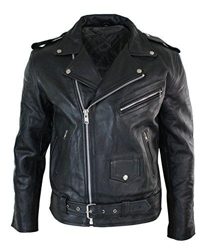 Veste de moto Brando motard cuir véritable peau de vache fermeture asymétrique classique homme