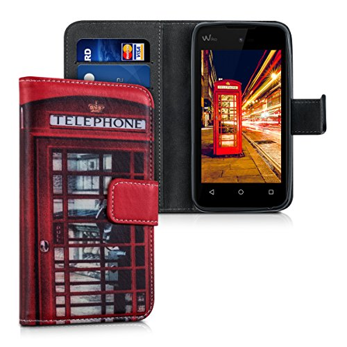 kwmobile Hülle kompatibel mit Wiko Sunny - Kunstleder Wallet Hülle mit Kartenfächern Stand London Handy Rot Schwarz Weiß