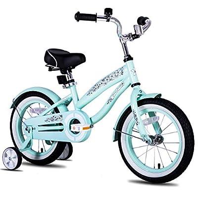 JOYSTAR 12 Inch Girls Bike with Training Wheels & Bell for 2 3 4 Years, Children Beach Cruiser Bicycle with Fender, Green