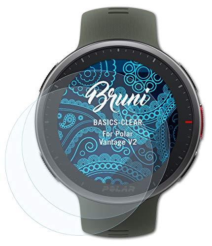 Bruni Schutzfolie kompatibel mit Polar Vantage V2 Folie, glasklare Bildschirmschutzfolie (2X)