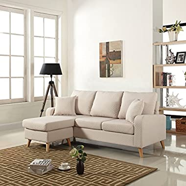 Divano Roma Furniture Mid Century Modern Linen Fabric Small Space Sectional Sofa with Reversible Chaise (Beige)