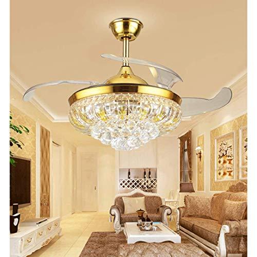 XUMINGDD Plafondventilator van kristalglas, volledig van koper met wit licht, plafondventilator met drie kleuren; afstandsbediening