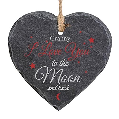Cartel colgante de pizarra natural, personalizable con texto en inglés 'To The Moon & Back', para decoración de interiores y exteriores
