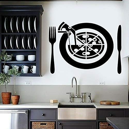 Vinyl Wall Decal Pizza Slice Italienische Küche Essen Restaurant Esszimmer Dekoration Messer Und Gabel Fensterglas Aufkleber 42X58 Cm Schwarz
