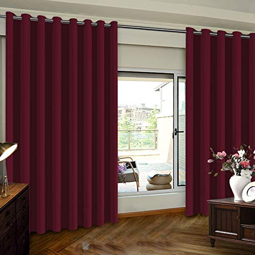 Turquoize Blackout Curtains Extra Wide Sliding Door Curtains for Living Room 84 Inches Thermal Insulated Patio Door Curtain Panel Grommet Window Treatment Curtain, 1 Panel(100Wx84L Inches, Burgundy)