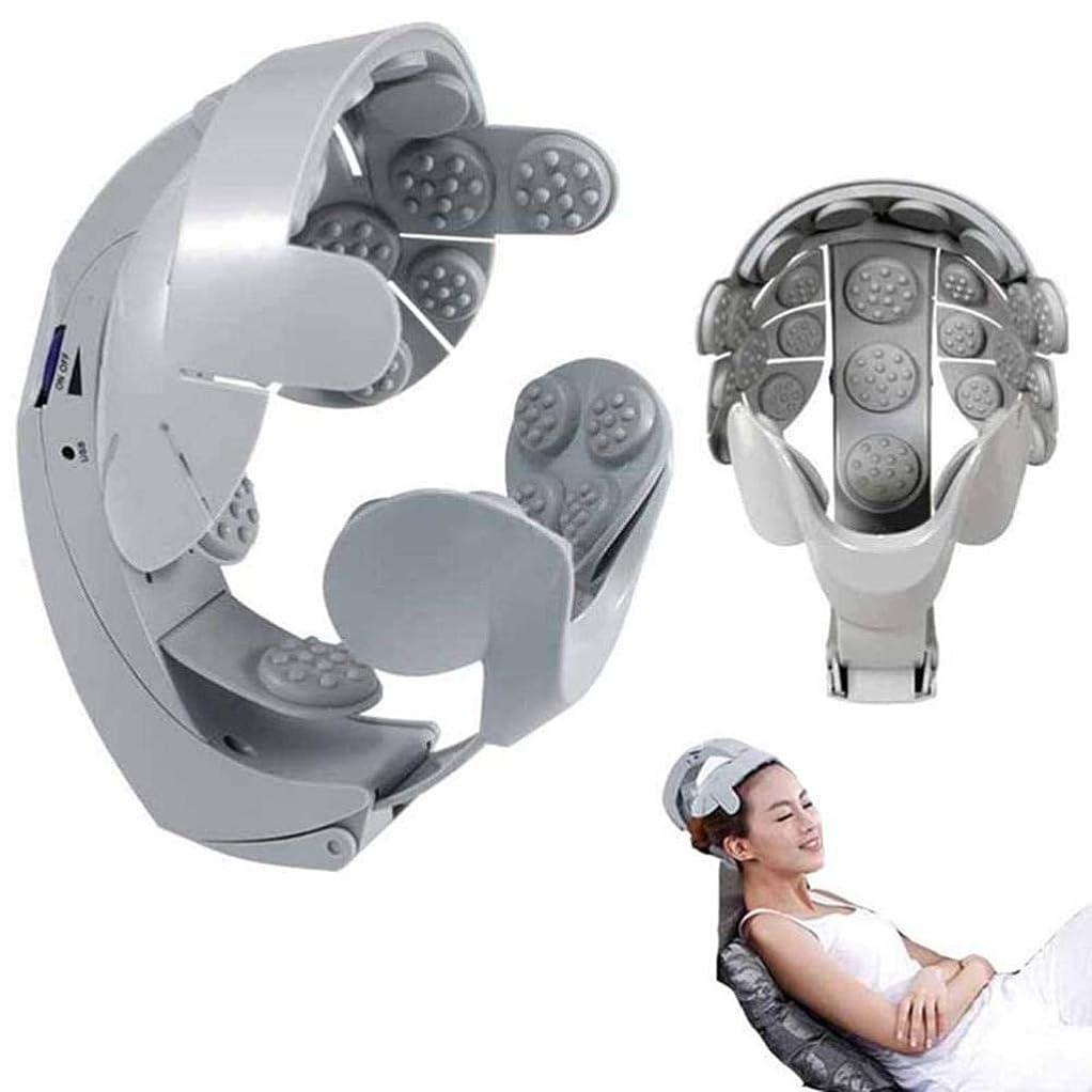 打撃変数成長電気ヘッドマッサージャー、8調整可能なヘルメット頭皮鍼治療のポイント、ユーザーフレンドリーなデザイン、脳マッサージは簡単です