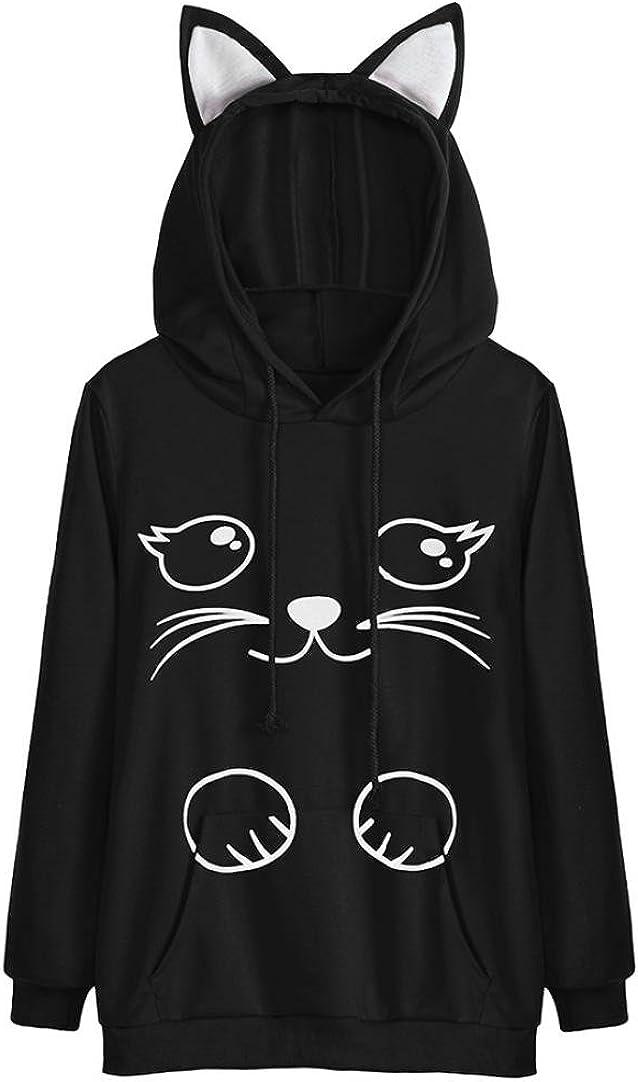 Girls Hoodie, Misaky Womens Cat Ear Blouse Sweatshirt Hooded Pul