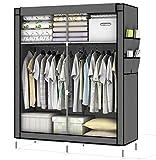 Intirilife Armario Tela Plegable 108x170x45 cm in Gris Ceniza – Guardar Ropa Organizador de Textil...