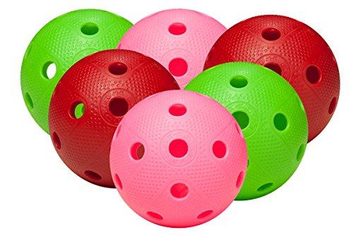 FAT PIPE Floorball & Unihockey Ball 6er Set Color Mix | Wettkampfball + Trainingsball mit IFF Zertifikat für geprüfte Qualität