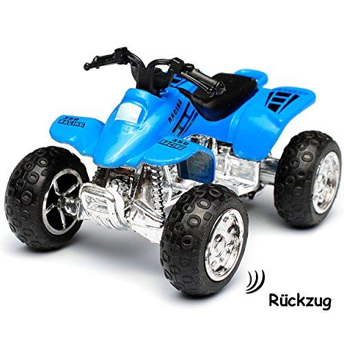 alles-meine.de GmbH Quad / ATV -  Rückzugsmotor - zum Aufziehen & Fahren / mit Rückzug - BLAU  - bewegliche Räder - aus Metall & Kunststoff - Spielzeugquad - Auto / Aufziehfahr..