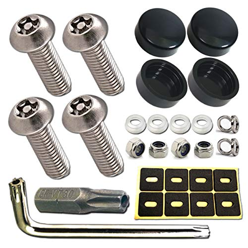 Anti-Rust Screws Self-Tapping License Plate Bolts License Plate Frame Cover Fasteners on Cars Trucks Black Screw Caps /& Nylon Inserts M6 Screws+Black Caps Stainless Steel License Plate Screws
