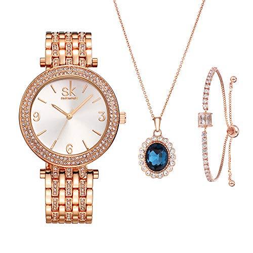 Mujer Relojes Conjunto para Mujeres Regalos para Mujeres Madres Esposa Reloj Pulsera Collar Brazalete Cuarzo Relojes de Pulsera (0011-RG SL006 DZ003)